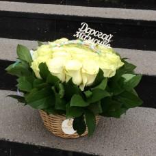 Корзина с белыми розами диаметром 20 см  (до 25 роз)