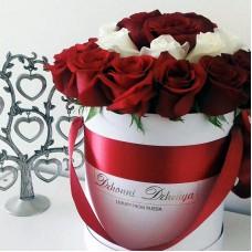 Белые и красные розы в цилиндре (XS) 21-23 розы