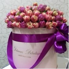 Тюльпаны пионовидные в цилиндре (L) до 150 шт.